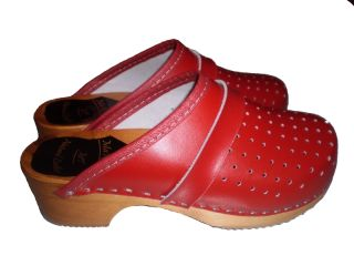 Genuine Red Leather Wooden Sole Swedish Style Clogs Womens Mens All