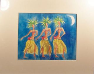 Nancy Hoke Maui Hawaii Print Hula Dancers Moon New Matt Artist Signed