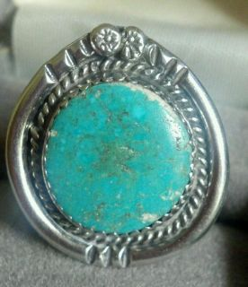 Signed AJG Sterling silver indian old navajo ? pawn turquoise flower