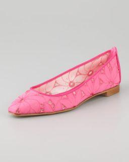 flat available in pink $ 595 00 manolo blahnik leela linen eyelet
