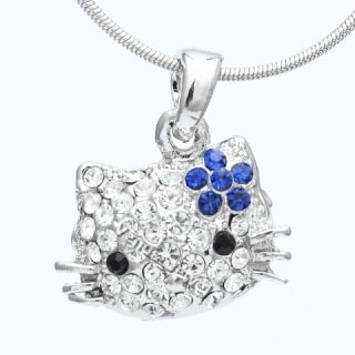 Blue Rhinestone Crystal Flower Puffy Hello Kitty Face Pendant Necklace