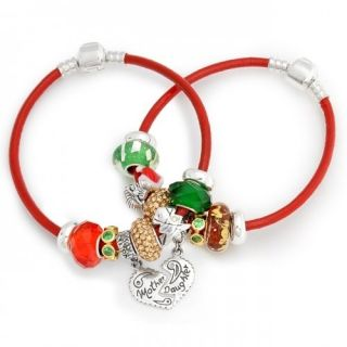 Bling Jewelry Mother Daughter Sterling Christmas Charm Bracelet Set