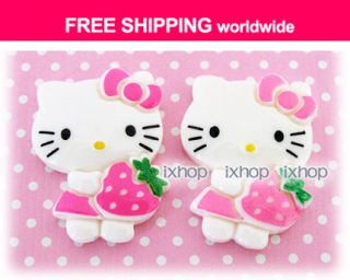 20 pcs FREE SHIP Hello Kitty Strawberry Resin Cabochon 6001 0450