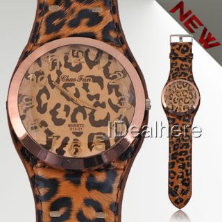 Sexy Leopard Brilliant Women Lady Big Wrist Watch Fashion