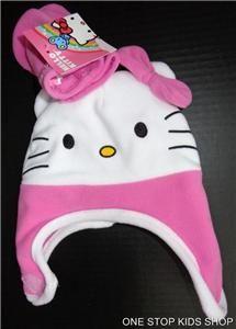 HELLO KITTY Toddler Girls Winter Set Costume HAT & MITTENS Gloves