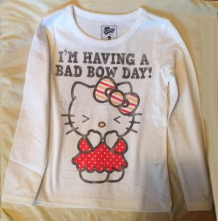 Old Navy Hello Kitty Girls Sz Medium 7 8 Long Sleeve Tee Shirt Bad Bow