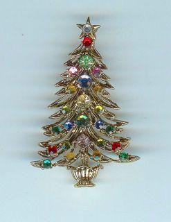 Striking Vtg Dimensional Hollycraft Multicolor Rhinestone Xmas Tree