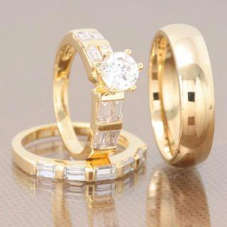 His Hers 3 Pcs Mens Womens Gold EP Titanium Cubic Zirconia Wedding