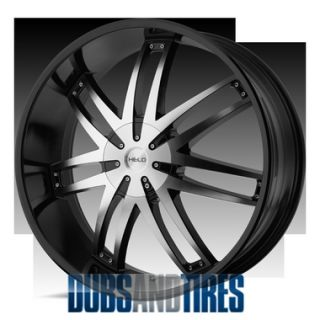 22 inch Black Machine Wheels Helo HE868 868 He 868 4 New Rims