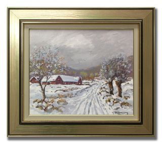 Hjalmar Lindblom 1901 1989 Country Road in Snow Original Swedish Oil