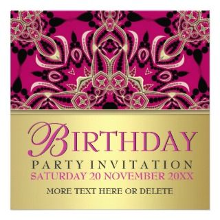 Hot Pink Diva Gal Birthday Party Invitations