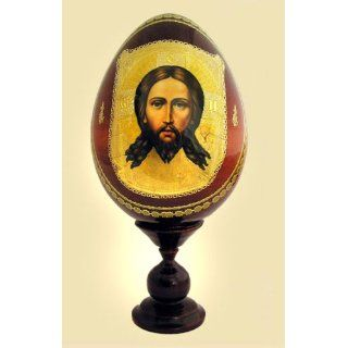 Christ Made Without Hands Decoupage Wood Icon Egg
