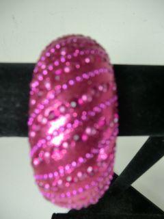 Henri Bendel Dark Pink Glass Crystal Thick Bangle Bracelet $159