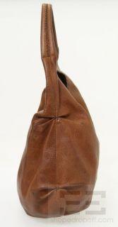 Henry Beguelin Brown Leather Gold Horn Hobo Handbag