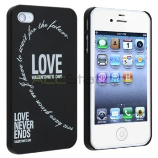 2pcs Black White Love Heart Hard Cover Skin Case for Apple iPhone 4S