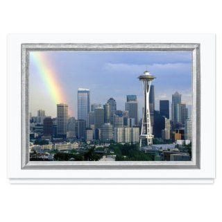 Seattle Skyline Holiday Card   25 Premium Greeting Cards