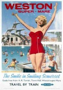 Weston Super Mare Somerset British Railways Poster