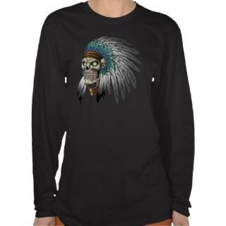 Native American Indian Tribal Gothic Skull T Shirt