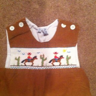 ORIENT EXPRESSED boys tan brown CORD SMOCKED Cowboys LONGALL sz 4T EUC