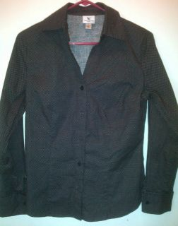Worthington Stretch Size 8 Black White Polka Dot Shirt Blouse Top