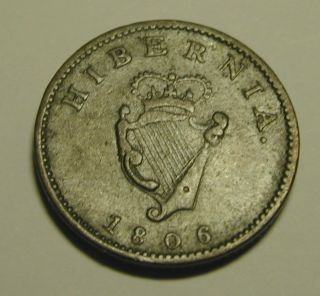 Ireland Hibernia Farthing 1806 George 111