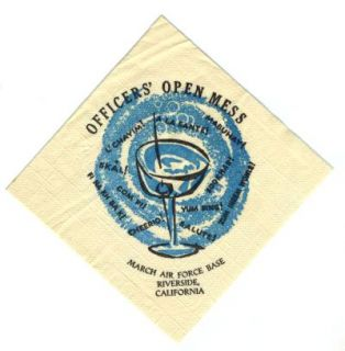March Air Force Base Officers Club Napkin