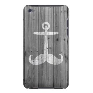 Hipster white mustache anchor on retro gray wood iPod Case Mate case