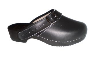 Genuine Black Leather Wooden Sole Swedish Style Clogs Womens Mens with