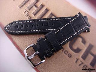 Hirsch Knight 20mm Black Alligator Grain Watch Strap