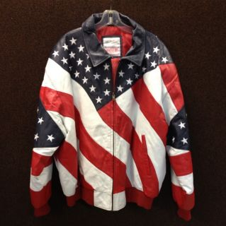 New American Flag Leather Jacket by Michael Hoban Size 3XL
