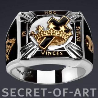Templar Masonic Silver Ring Black Enamel in Hoc 24K Gold Plated