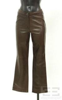 michael hoban chocolate brown leather pants size 2