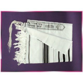 Black/silver Tallit Wool Talit Prayer Shawl 51 * 71