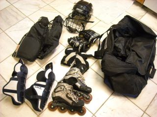 Set of Roller Hockey Gear and Bag