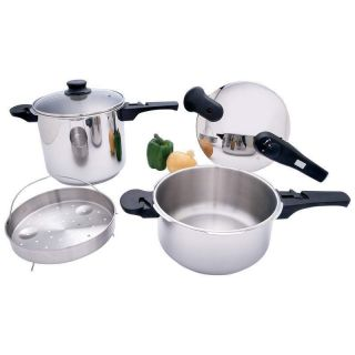 Precise Heat™ 5pc T304 Stainless Steel Pressure Cooker Set
