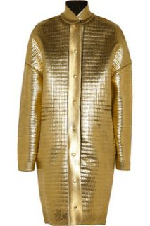 Stella McCartney Metallic leather effect coated knitted wool coat