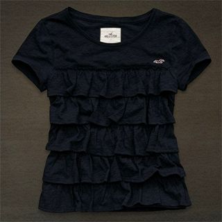 NWT Hollister Abercrombie NAVY Womens WEST STREET Ruffle Tee Top Shirt