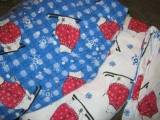 FLANNEL SHEET SET HOLIDAY SNOWMEN WINTER CHRISTMAS BEDDING