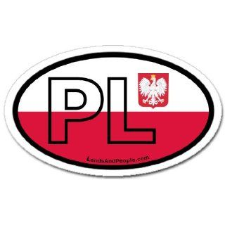 Poland PL Flag Car Bumper Sticker Decal Oval    Automotive