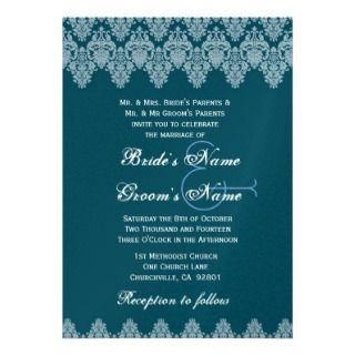 French Blue Lace Damask Wedding Premium Metallic Custom Invitations