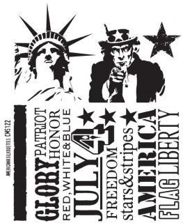 Tim Holtz Cling Rubber Stamp CMS122 Americana Silhouettes New Spring