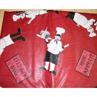 Fat Chef 60 inch ROund Vinyl Tablecloth with Flannel