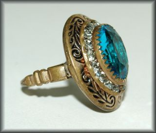 Vintage Aqua Glass Rhinestone Enameled Brass Ring Sz 5 1 4