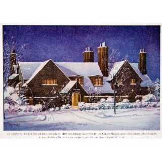1943 Color Print House Winter Home Snow Architecture Yard