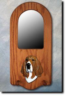 Basset Hound Portrait Mirror Home Decor Dog Figure Wood Design