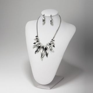 Fashion Silver Plated Leaf Design Mother of Pearl Necklace Earrings