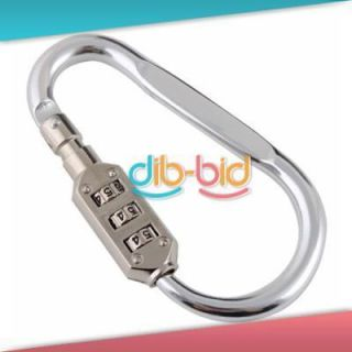 Silver 3 Dial Combination Lock Portable Luggage Padlock