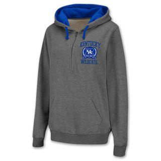 Kentucky Wildcats Half Zip NCAA Womens Hoodie Grey