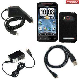 HTC EVO 4G Sprint Combo PREMIUM FEEL Black Silicon Skin