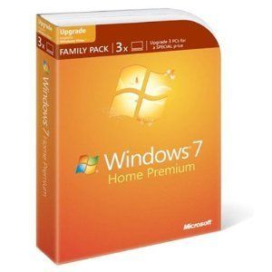 Microsoft Windows 7 Home Premium Upgrade Family Pack 3 PCs NEW IN BOX